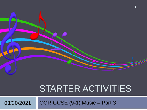 OCR GCSE (9-1) Music Listening Starters Part 3