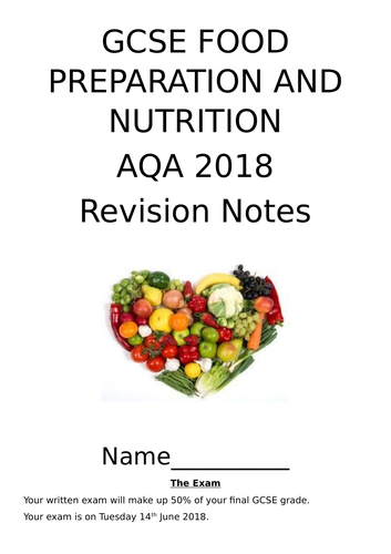 Revision booklet for gcse aqa food preparation and nutrition by revision booklet for gcse aqa food preparation and nutrition by 99smellysocks teaching resources tes forumfinder Gallery