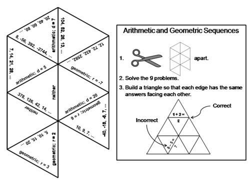 High school sequences resources arithmetic and geometric sequences game math tarsia puzzle ccuart Gallery