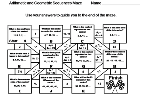 Arithmetic and Geometric Sequences: Math Maze | Teaching ...
