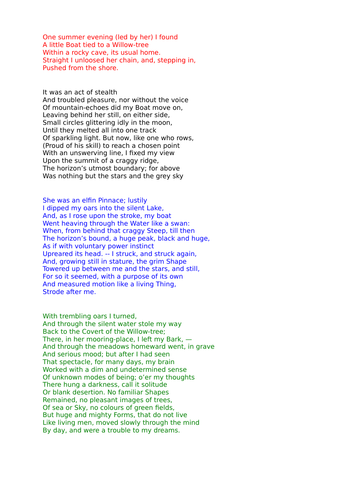 'The Prelude' by Wordsworth - AQA Poetry Conflict Cluster