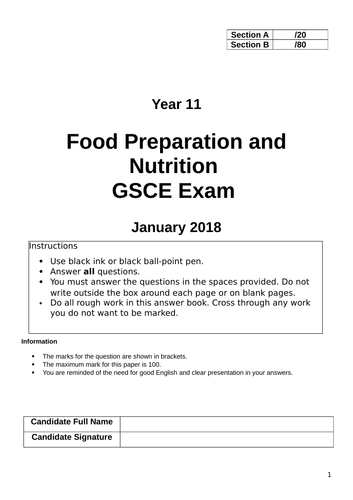 Food Preparation & Nutrition Mock Exam