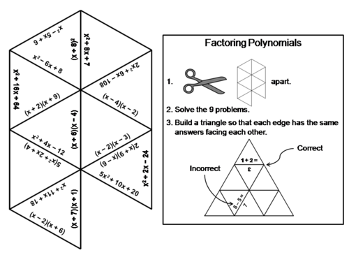Factoring Polynomials Cutout Puzzle by CommonCoreFun | Teaching