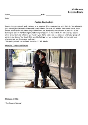 KS3 Devising Drama Exam Paper (Practical and Written)