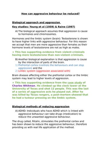 AQA GCSE psychology aggression content summary