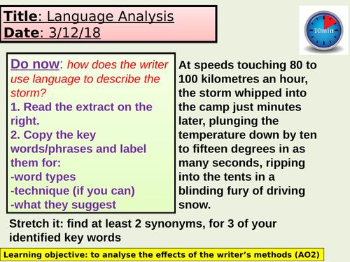 English Language Analysis Lesson