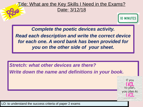 AQA Literature Paper 2 Section B Revision Lesson (Unseen/Comparative Poetry)