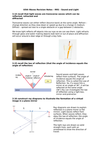 Year 11 iGCSE Physics Revision Notes - Waves - Light and Sound