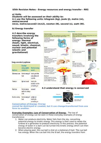 Year 11 iGCSE Physics Revision Notes - Energy