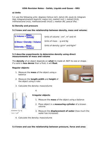 Year 11 iGCSE Physics Revision Notes - Solids, liquids and gases inc Gas  Laws