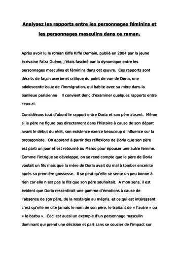 A-LEVEL FRENCH Kiffe kiffe demain Analysez les rapports entre personnages masculins / féminins ESSAY