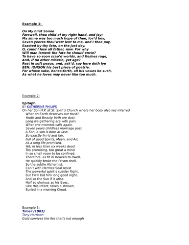 Elegy by Duffy OCR A Level English Combined