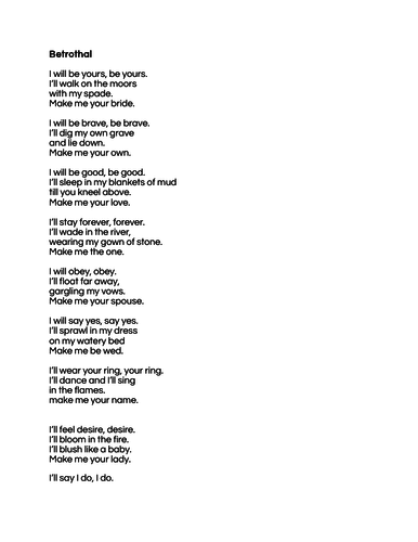 Betrothal by Duffy OCR A Level English Combined