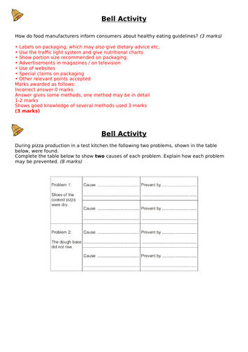 AQA Food Preparation and Nutrition starter activities