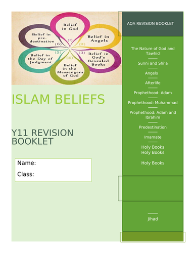 GCSE AQA RE Islam Beliefs and Teachings Revision and Activity Booklet