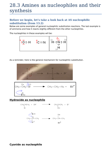28.3 amines as nucleophiles and their synthesis