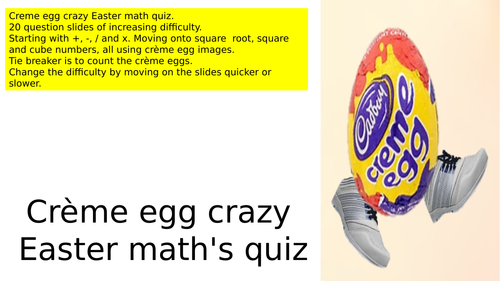 Creme egg crazy Easter maths quiz BIDMAS