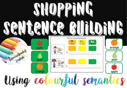Shopping sentence buliding using colourful semantics
