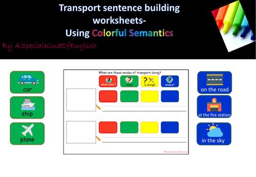 Transport sentence buliding using colourful semantics
