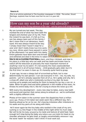 AQA English, June 2017, Paper 2 (exemplar responses)