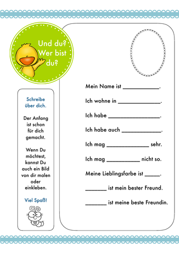 Das bin ich - German/Deutsch - Introducing for children, simple writing activity, FREE! Vorstellen