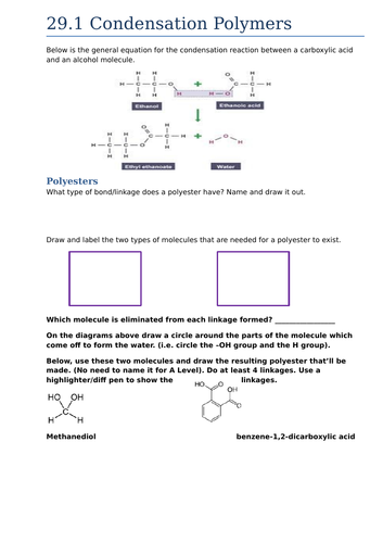 29.1 Condensation Polymers (AQA A Level)