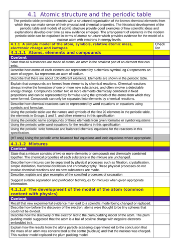 aqa gcse 1 9 chemistry 41 atomic structure and the periodic table tick list by d_p_harris_mobile teaching resources tes