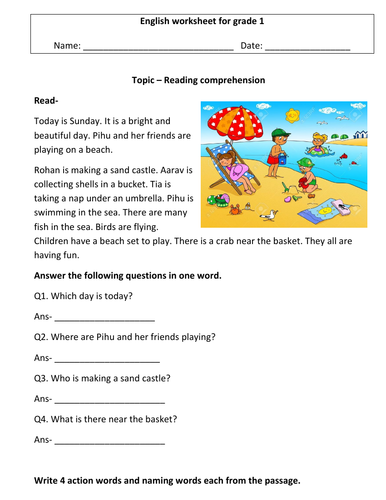 Comprehension worksheets for grade 1 ( 3 worksheets)