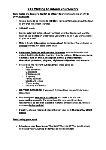 Writing to Inform, Local Area - Coursework Guide