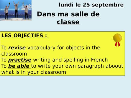 Classroom objects -  ma salle de classe