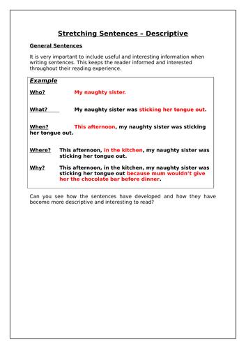 Stretching Descriptive Sentences Worksheet by ...