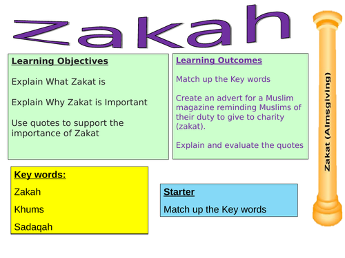 AQA GCSE ZAKAT and Khums