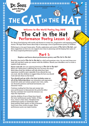 Dr. Seuss | The Cat in the Hat | World Poetry Day Resources