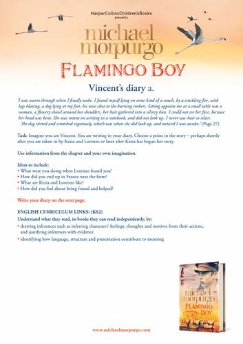 Michael Morpurgo Flamingo Boy Diary