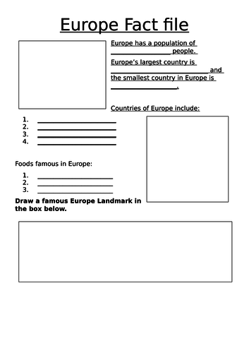 Europe Factfile lesson resources and presentation KS1 CONTINENTS EUROPE