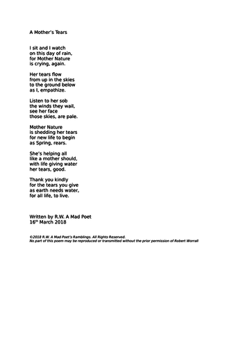 A poem about Mother Nature and the rain  by madpoet
