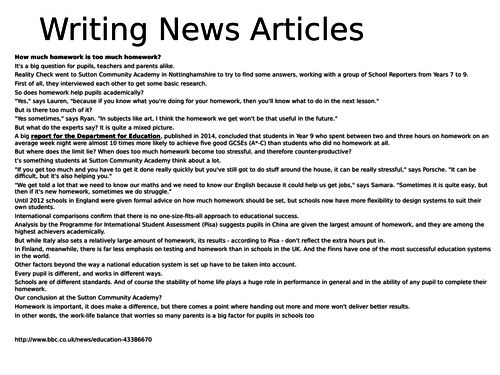 How to analyze a newspaper article example