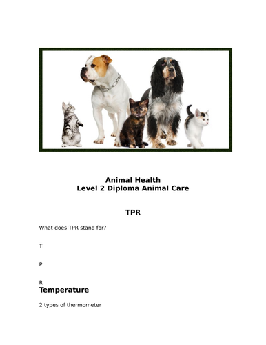 Animal care first aid