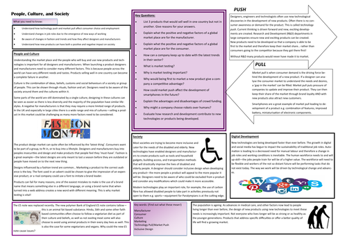 People, Culture and Society Learning Mat. AQA GCSE D&T.