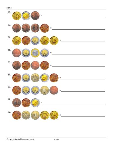 Euro Coins Worksheets KS1 KS2 Mathematics Freebie