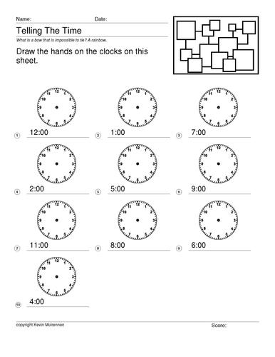 Freebie Telling the Time KS1 KS2 Mathematics