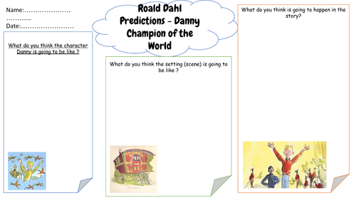 Roald Dahl Predictions - Danny Champion of the World - Worksheet