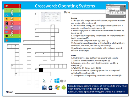 Operating Systems Crossword Puzzle Sheet ICT Computing Starter Activity  Keywords KS3 GCSE Cover