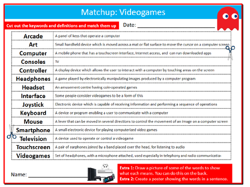 Videogames Definition Matchup ICT Computing Starter Activity Keywords KS3  GCSE Cover