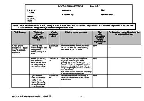 Risk Assessments - Textiles, Small Equipment