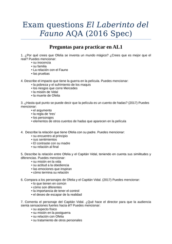 Questions for essays El Laberinto del Fauno AQA new and old spec
