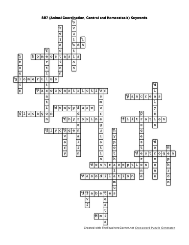SB7 Animal Coordination, Control and Homeostasis  Keywords Crossword