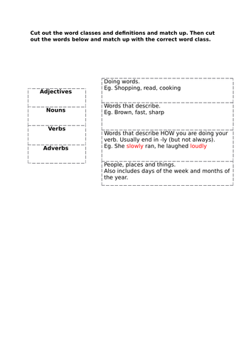 Word Class Sorting Activity
