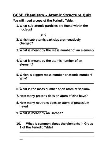Middle school atoms and elements resources atomic structure quiz urtaz Images