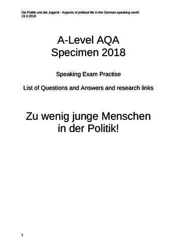 """AQA A-Level German Speaking """"Die Politik und Jugend"""""""